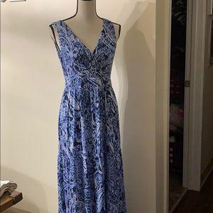 St. John's Bay Blue V- Neck Maxi Dress Size M